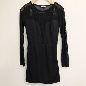 TOBI Sheer Mesh Sleeve Bodycon Cocktail Dress